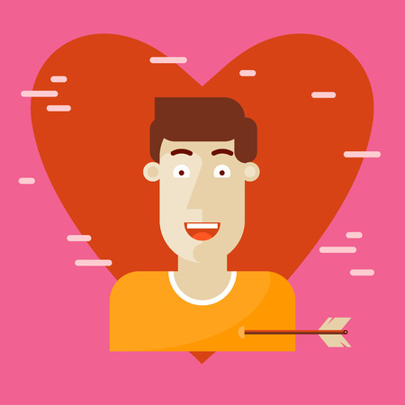 enamored: Valentines Day. Enamored man with an arrow in the heart. Flat design vector illustration. Illustration