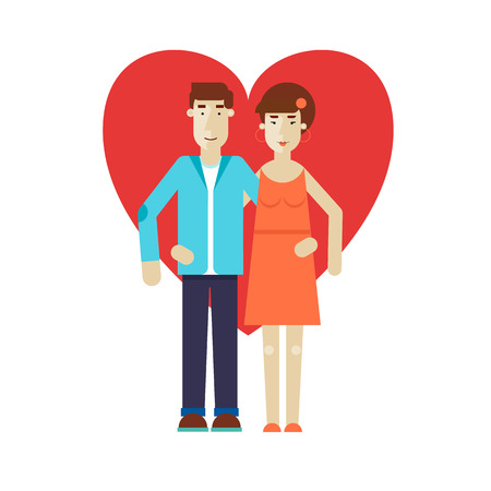 other: Couple man and woman hugging each other. Flat design vector illustration. Illustration