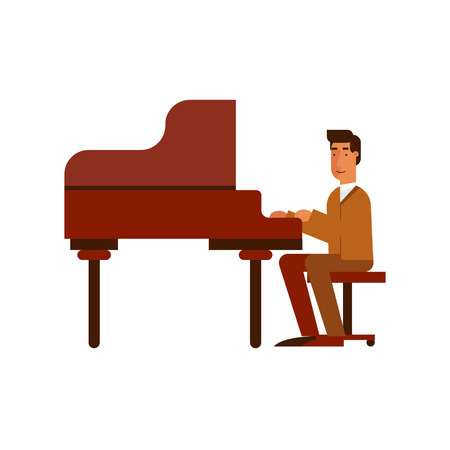 jazz man: Jazz man playing the piano music on the isolated background.