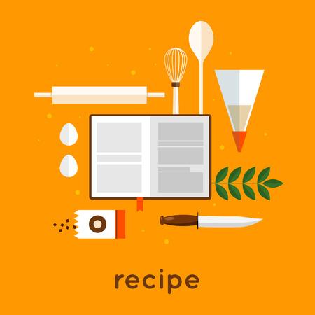 homemade cake: Bakery recipe for baking. Flat design vector illustration.