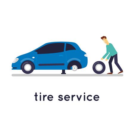 tire change: Broken car, Suspension Tire repair mechanic wheels wheel, isolated on white background. Flat design vector illustration. Illustration
