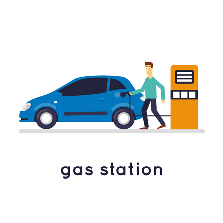 fueling: Man refuel the car. Gas station, isolated on white background. Flat design vector illustration. Illustration