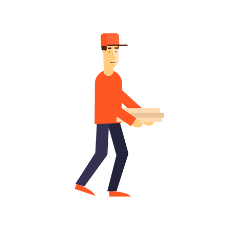combo: Pizza delivery. Man holding pizza boxes. Flat design vector illustration.