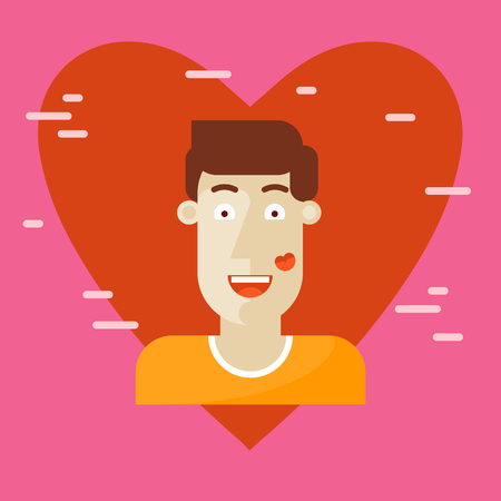 enamored: Valentines Day, a guy with a trace of a kiss on a cheek. Enamored. Flat design vector illustration.