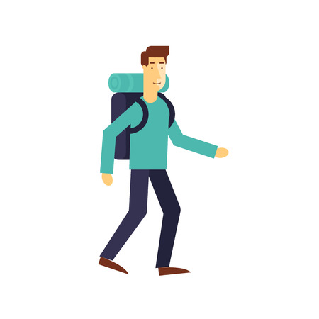 knapsack: Full length of a hiker with backpack isolated on white background. Flat design vector illustration. Illustration