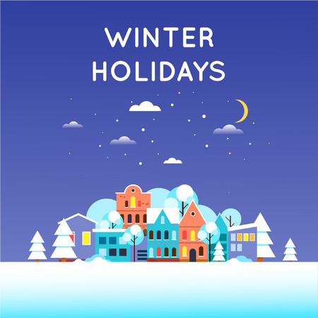 old city: Winter cityscape at night, Old city. Flat design vector illustration.