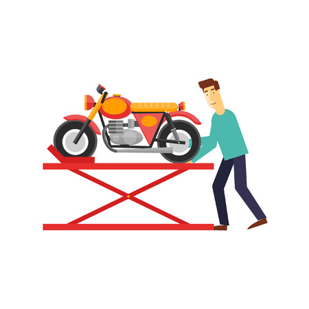 cruiser bike: Repair of motorcycles, building motorcycles, custom motorcycles. Flat design vector illustration.