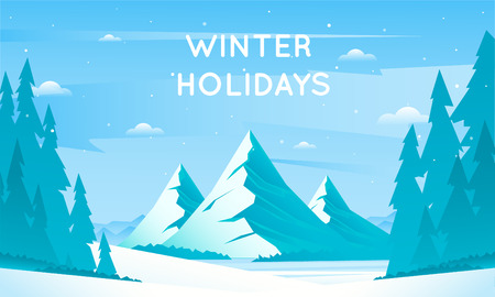 mountain landscape: Winter mountain landscape, vacation in the mountains in nature. Flat design vector illustration.