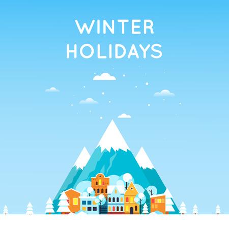 Paesaggio invernale con le montagne e la città vecchia villaggio. Paesaggio invernale. Nuovo anno. Piatto illustrazione disegno vettoriale.