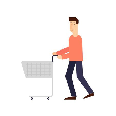 basket icon: Man with a shopping cart on a white background. Flat design vector illustration.