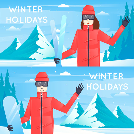 teenager boy: Boy and girl are engaged in recreational activities snowboarding and skiing in the mountains. Flat design vector illustration.