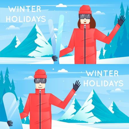 actividades recreativas: Ni�o y ni�a se dedican a actividades recreativas snowboard y el esqu� en las monta�as. ilustraci�n vectorial dise�o plano.