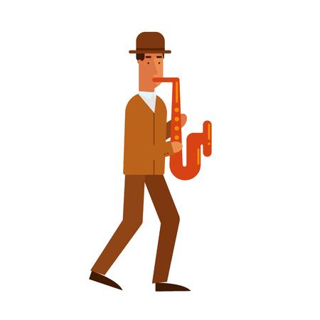 jazz man: Jazz man plays the saxophone. On isolated background.