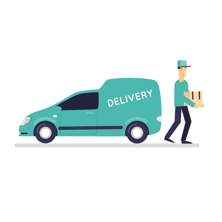 man carrying box: Man with a parcel near the vehicle, delivery of goods on a white background. Flat design vector illustration. Illustration