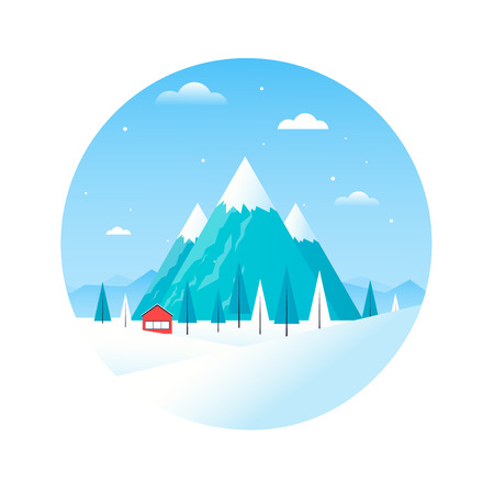 chalet: Winter landscape with mountains and a house in the composition of the circle, chalet, winter vacation. Flat design vector illustration. Illustration