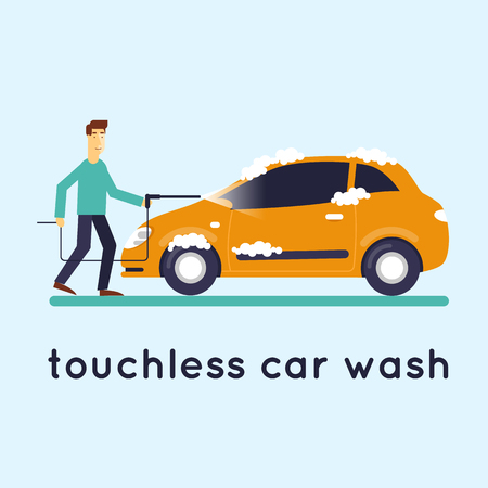 soaping: Contact less car wash. Flat design vector illustration.