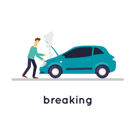 car isolated: Broken car, a man opened the hood isolated on white background. Flat design vector illustration.