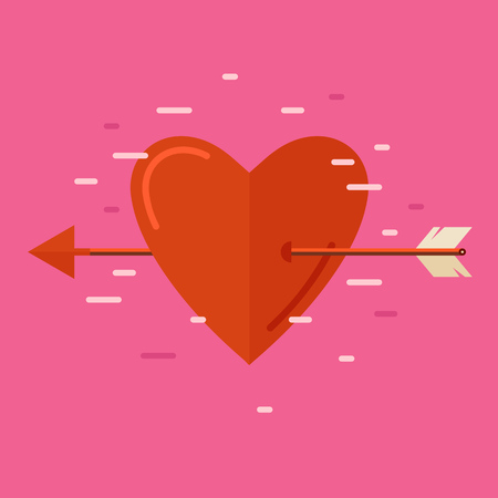 pierce: Heart pierced by an arrow. Valentines Day. Flat design vector illustration.