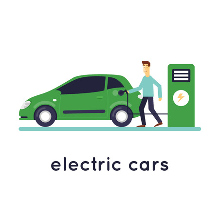 fueling: Man Charges electric cars. Ecology isolated on white background. Flat design vector illustration.
