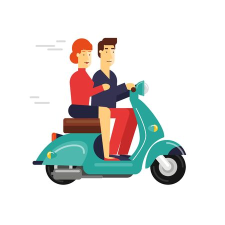 love symbols: Guy and girl riding a moped on the isolated background.
