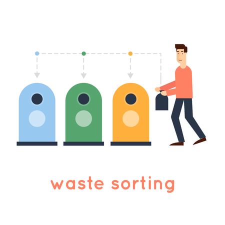 sorting: Sorting garbage man throwing garbage into the container environment on an isolated background.  Illustration