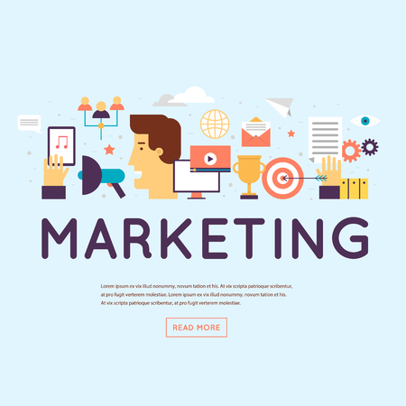 Marketing, e-mailmarketing, videomarketing en digitale marketing. Banner. Platte ontwerp vectorillustratie.