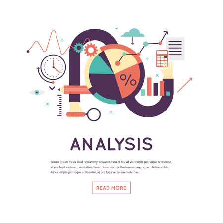 digital data: Data analysis, business graph statistics, financial research. Banner. Flat design vector illustration. Illustration