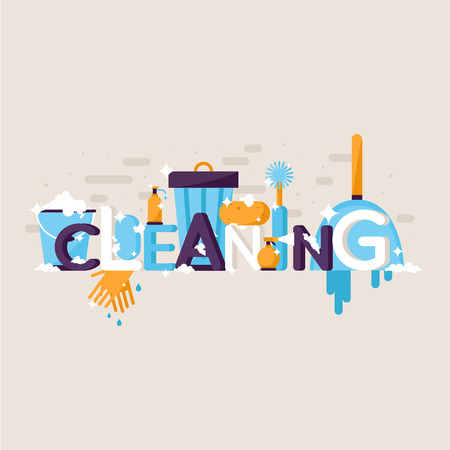 Cleaning services. Typographic poster. Banner. Flat design vector illustration.  イラスト・ベクター素材