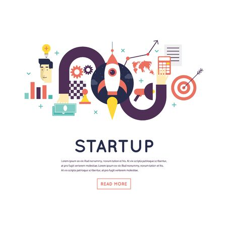 realization: Start-up process, development strategies, planning, marketing, business success. Banner. Flat design vector illustration. Illustration