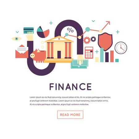Finance, investment holding, credit, accounting, financial management. Banner. Flat design vector illustration. Ilustração Vetorial