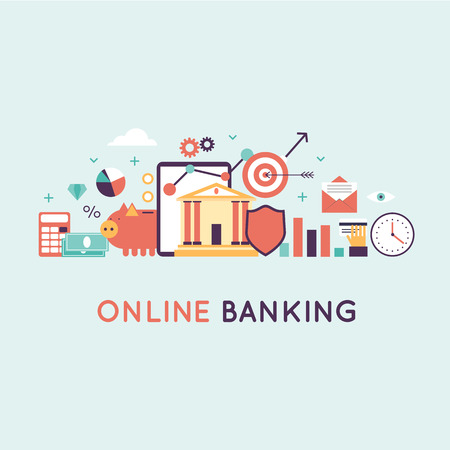 On-line banking, on-line payment time is money statistics and finance. Banner. Flat design vector illustration.