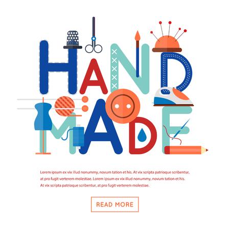 Handmade. Typographic poster. Flat design vector illustration isolated on white background. Vettoriali