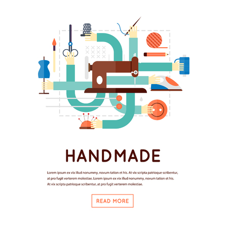 tailor: Hand made, sewing, knitting. Flat design vector illustration, banner.