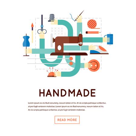 Met de hand gemaakt, naaien, breien. Platte ontwerp vector illustratie, banner. Vector Illustratie