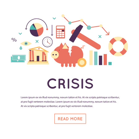 exchange loss: Crisis economic, falling graph of a stock market, financial crisis, bankruptcy. Flat design vector illustration isolated on white background.