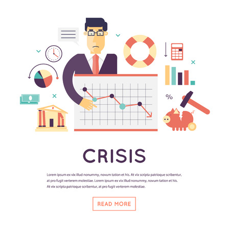 crisis: Crisis economic, falling graph of a stock market, financial crisis, bankruptcy. Flat design vector illustration isolated on white background.