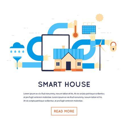 Smart House, la casa ecológica. ilustración vectorial diseño plano aislado en el fondo blanco.