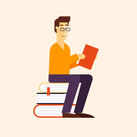 Reading, guy is reading a book. Flat design vector illustration.