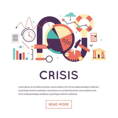 crisis economica: Crisis económica, gráfico de la caída de un mercado de valores, crisis financiera, la quiebra. ilustración vectorial diseño plano aislado en el fondo blanco.