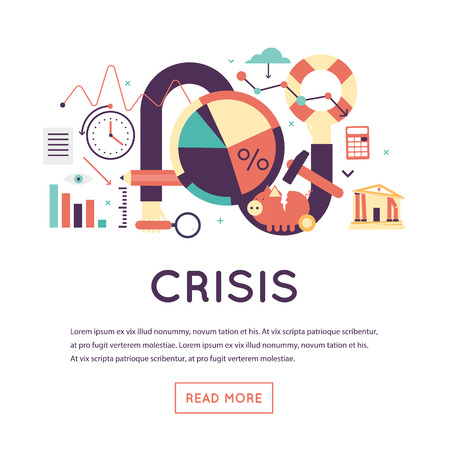economic depression: Crisis economic, falling graph of a stock market, financial crisis, bankruptcy. Flat design vector illustration isolated on white background.