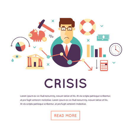 banking and finance: Crisis economic, falling graph of a stock market, financial crisis, bankruptcy. Flat design vector illustration isolated on white background.