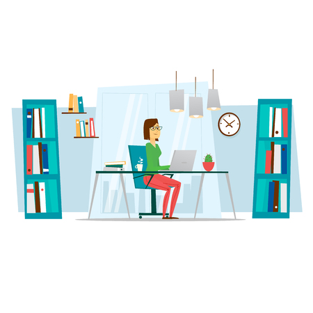 woman behind: Business woman working in office behind her desk with desktop computer. Flat vector illustration. Illustration