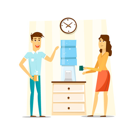 break in: Coffee break, Man and woman drinking tea in an office. Flat vector illustration.