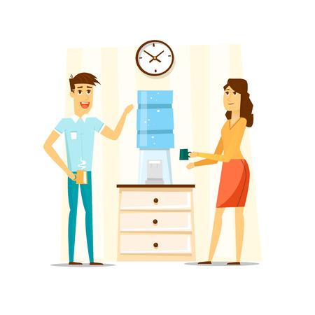break in: Coffee break, Man and woman drinking tea in an office. Flat vector illustration.
