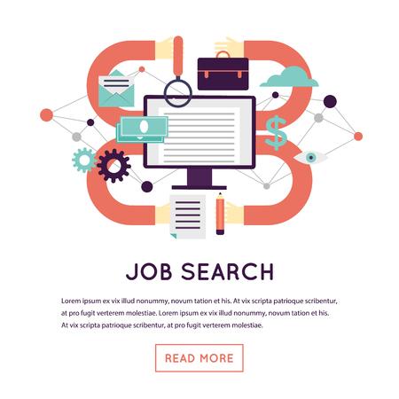 Recherche d'emploi. Rechercher sur Internet. Illustration vectorielle de design plat isolé
