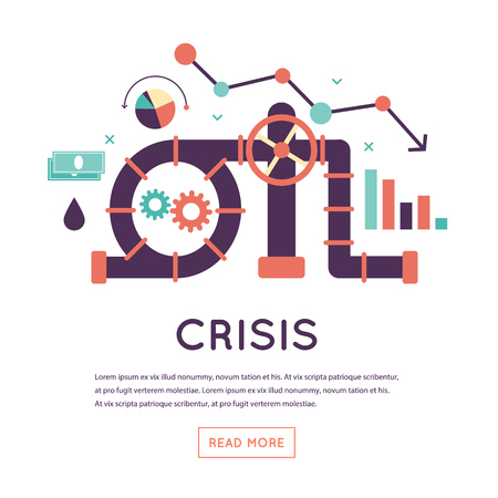 global crisis: Oil crisis, prices reduction. Flat design isolated vector illustration. Illustration