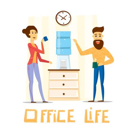 break in: Coffee break, Man and woman drinking tea in an office. Flat vector illustration