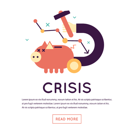 economic crisis: Economic crisis, falling of a stock market, crisis business, prices reduction. Piggy bank. Flat design isolated vector illustration. Flat design isolated vector illustration. Illustration