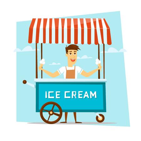helados caricatura: Feliz sonriente vendedor de helados con el carro. Personaje animado. Ilustración del vector. Vectores
