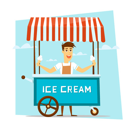 Happy smiling ice cream seller with cart. Cartoon character. Vector Illustration.